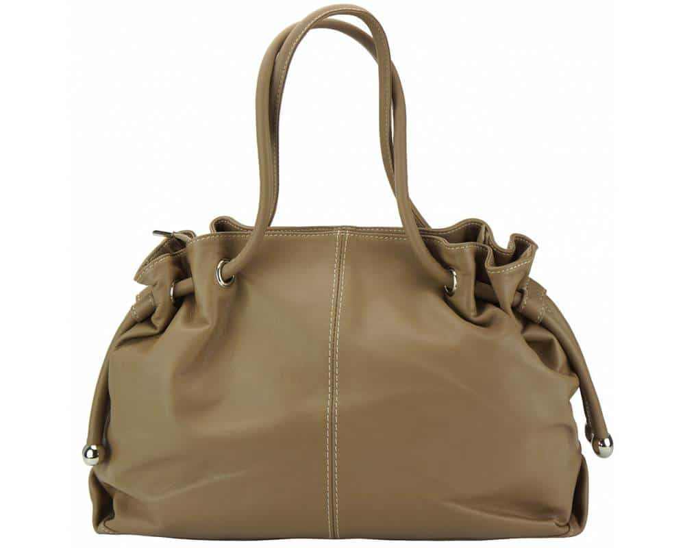 dark taupe shoulder bag in natural leather Juliana for women
