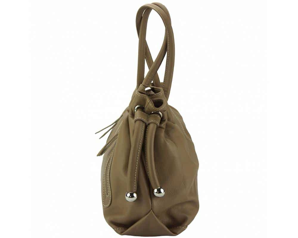 dark taupe shoulder bag in genuine leather Juliana from italy