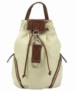 beige brown backpack from real leather Lacramioara for women