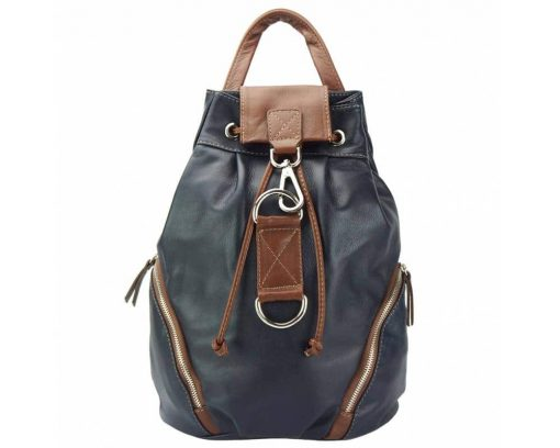 dark blue brown backpack from natural leather Lacramioara for women