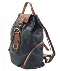 dark blue backpack in real leather Lenuta for women
