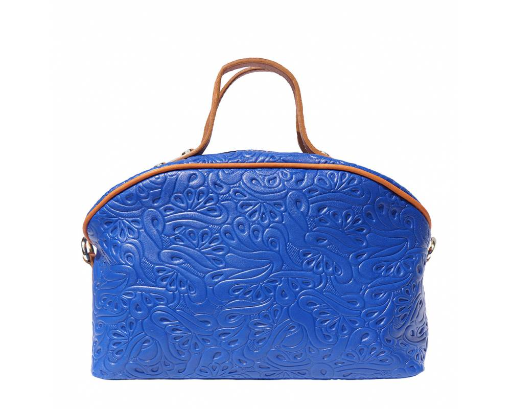 electric blue tan makeup bag in patterned calf genuine leather Karla for women