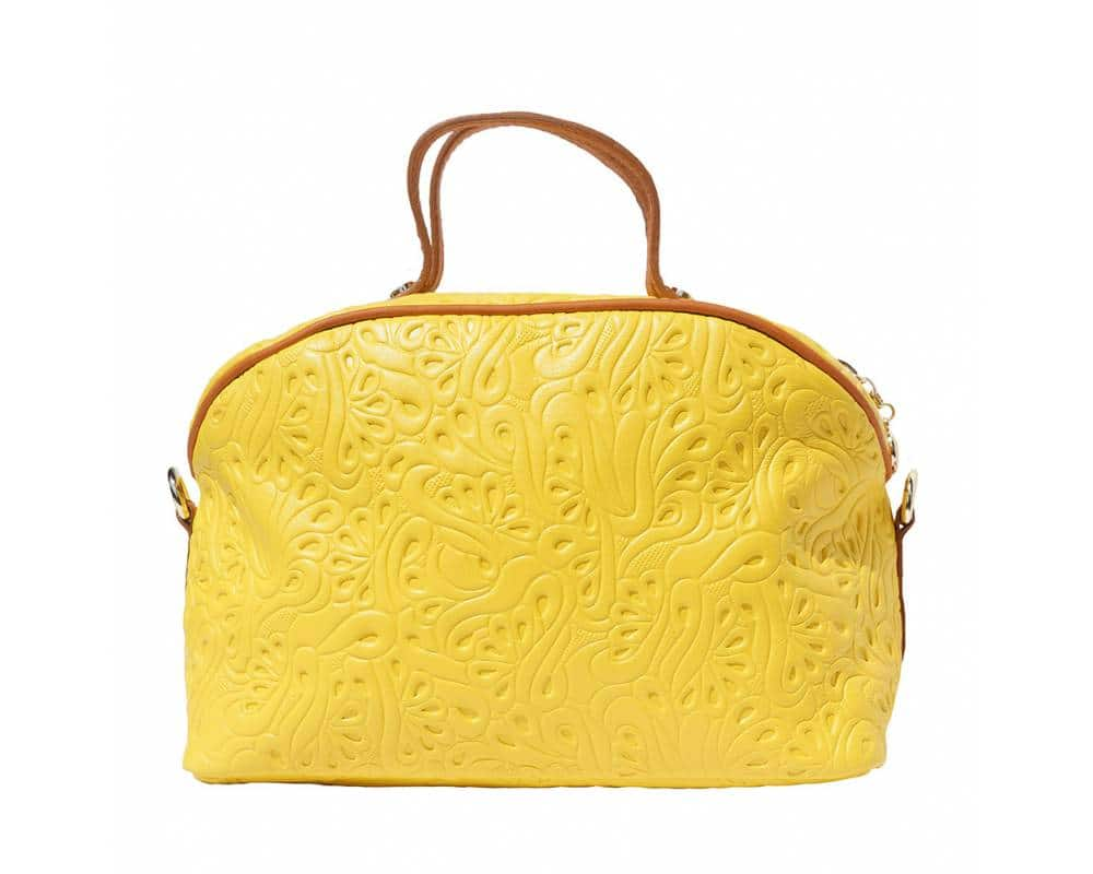 yellow tan makeup bag in patterned calf genuine leather Karla for women