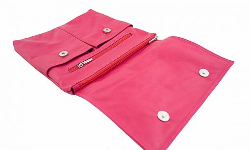 buy fucsia color cross body bag in genuine leather Ippolito women