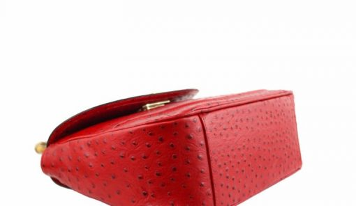 handbag Lina from genuine leather in style ostrich colour red buy for women