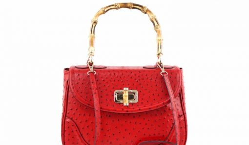 handbag Lina from genuine leather in style ostrich colour red photo for women