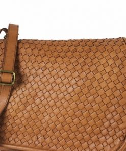 tan bag in washed and dyed woven genuine leather Ingrid for women