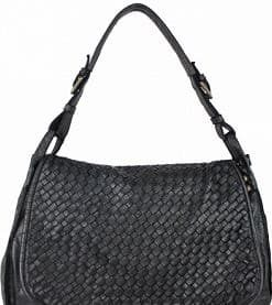 dark grey bag in washed and dyed genuine leather Ingrid for woman