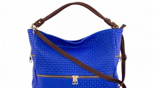 buy electric blue bag printed suede genuine leather Tullia from italy big women