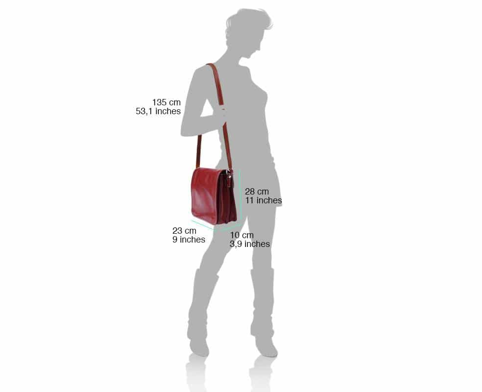 red messenger bag in rigid leather Joana for woman