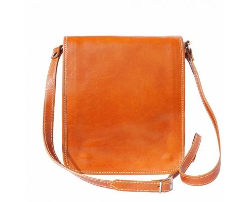 tan messenger bag in rigid leather Joana for men