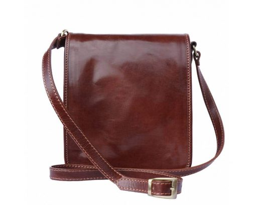 dark brown messenger bag in rigid leather Joana for men