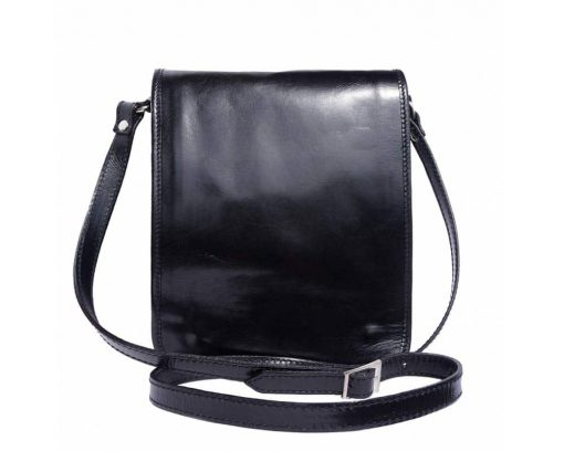 black messenger bag in rigid leather Joana for men