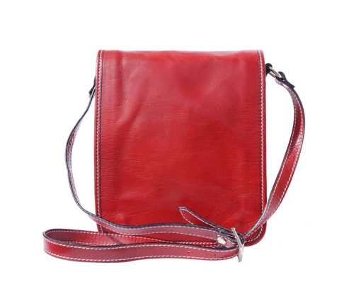 red messenger bag in rigid leather Joana for men