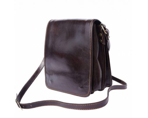 dark brown messenger bag in real leather Joana for men