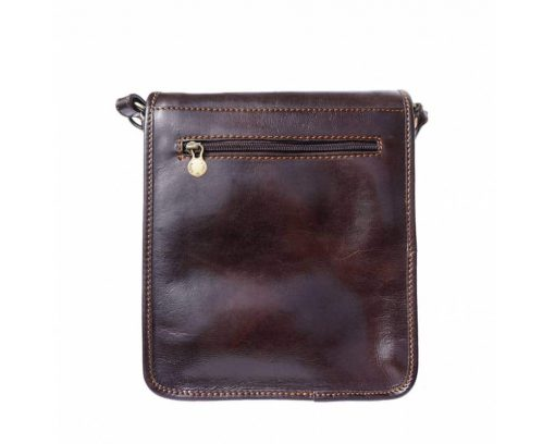 dark brown messenger bag in natural leather Joana for men