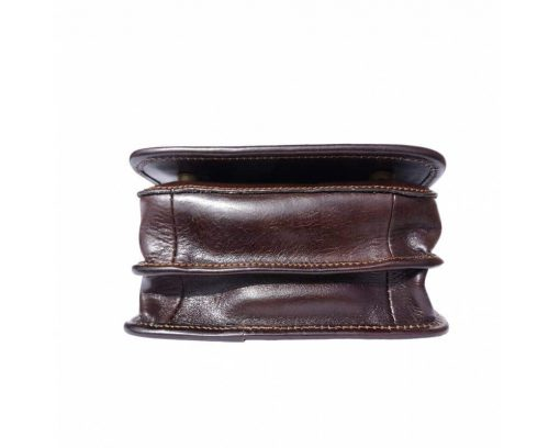 dark brown messenger bag in genuine leather Joana unisex
