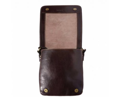 dark brown messenger bag in leather Joana for men