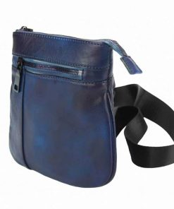 dark blue messenger bag in leather Jenica for men