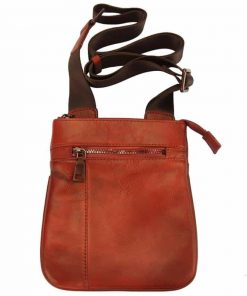 red messenger bag in leather Jenica for men
