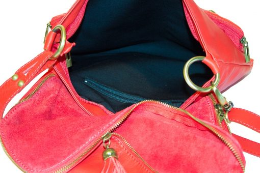 red bag in leather Irma woman