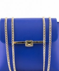 electric blue cross body bag in leather Ivilla woman
