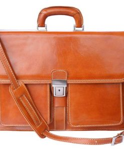 tan classic briefcase in rigid leather ionel for men