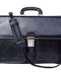 black classic briefcase in rigid leather ionel for men