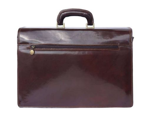 dark brown briefcase in real leather ionel for men