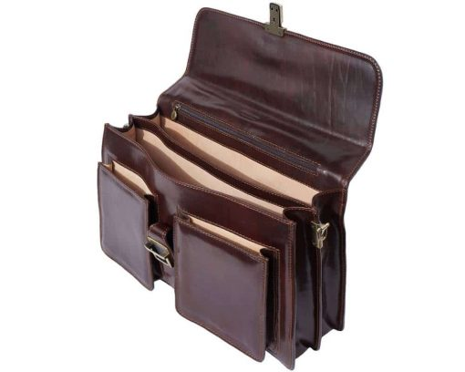 dark brown briefcase in natural leather ionel for man