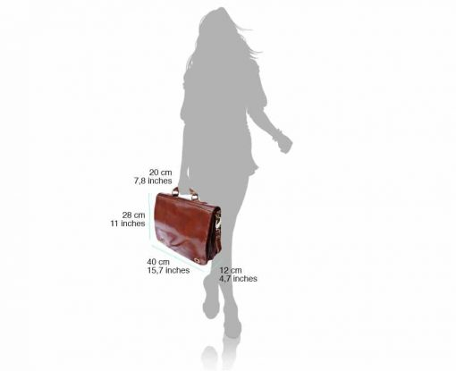 dark brown classic business bag in rigid real leather Iunia from italy for men