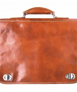 tan classic business bag in rigid real leather Iunia from italy for women