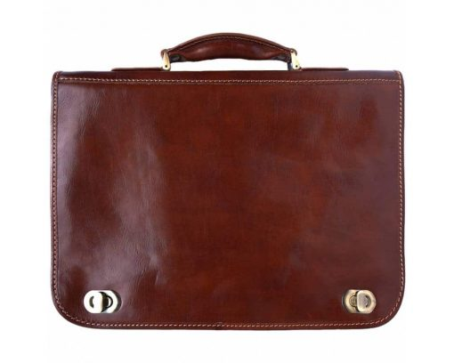 brown classic business bag in rigid real leather Iunia from italy for men