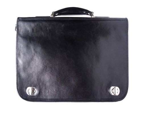 black classic business bag in rigid real leather Iunia from italy for men