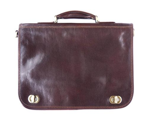 dark brown classic briefcase in rigid real leather Iunia from italy for men