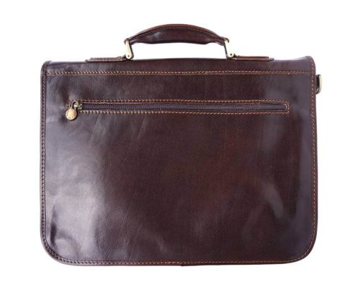dark brown classic briefcase in rigid genuine leather Iunia from italy for men