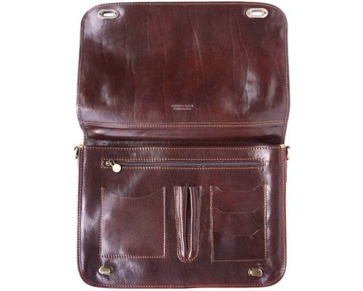 dark brown classic briefcase in rigid leather Iunia from italy for men