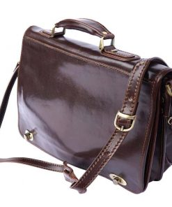 dark brown classic briefcase in rigid genuine leather Iunia