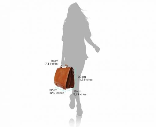 tan briefcase in genuine leather Larisa for woman