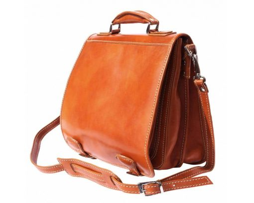 tan briefcase for documents in real leather Larisa for woman