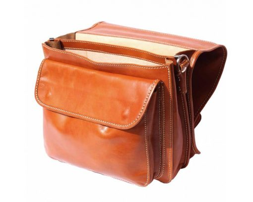 tan briefcase for documents in real natural leather Larisa for men