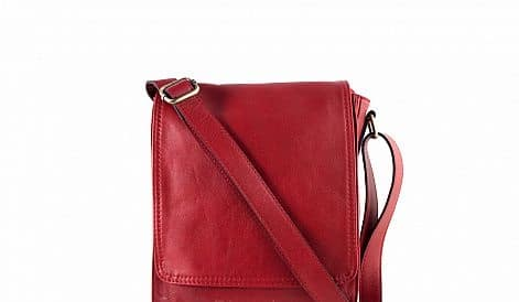 cross body bag Guglielmo from genuine leather colour red buy for women