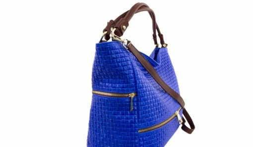 electric blue bag printed suede genuine leather Tullia from italy big woman