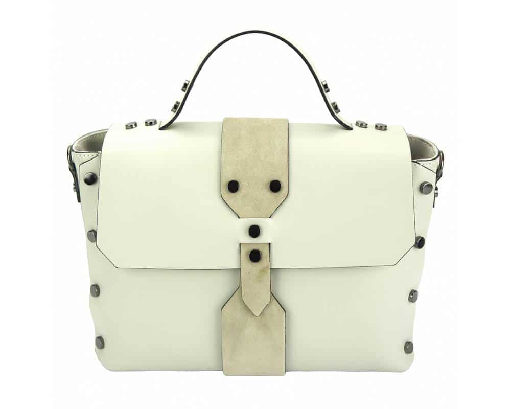 white handbag with rivets in real leather Kali for women