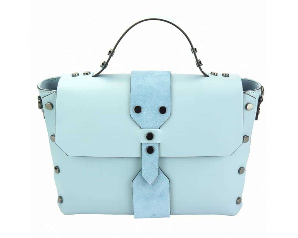light cyan handbag with rivets in real leather Kali for women