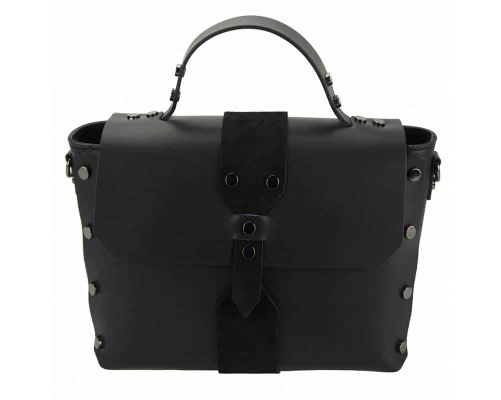 black handbag in real leather Kali for woman