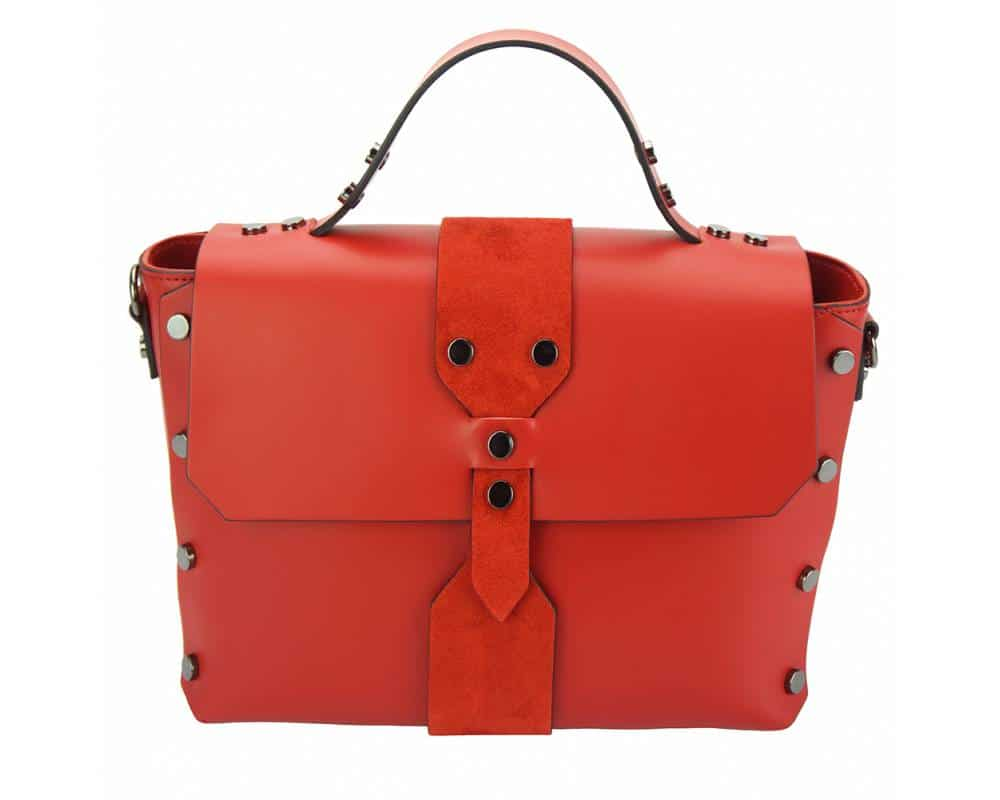 red handbag in real leather Kali for women