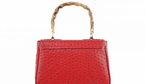 handbag Lina from genuine leather in style ostrich colour red for women