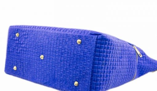 electric blue bag printed suede genuine leather Tullia from italy woman