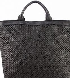 dark grey maxi bag in woven real leather Zuleika women